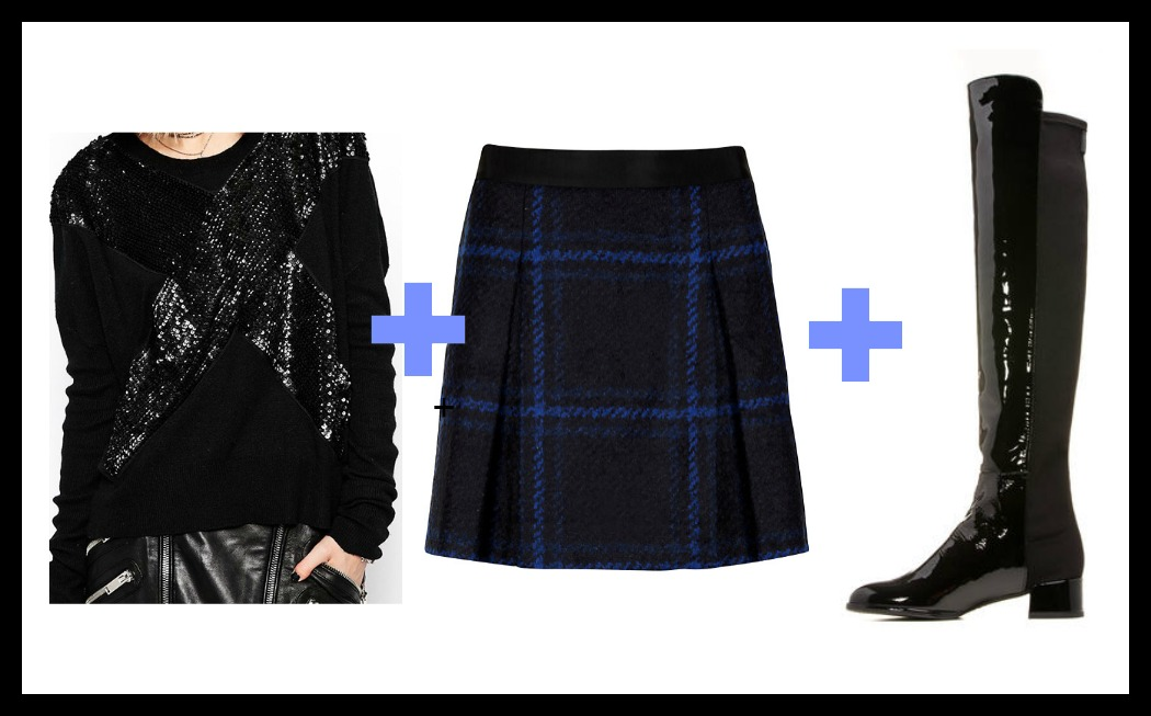 sequin sweatshirt, plaid skirt, patent over-the-knee boots