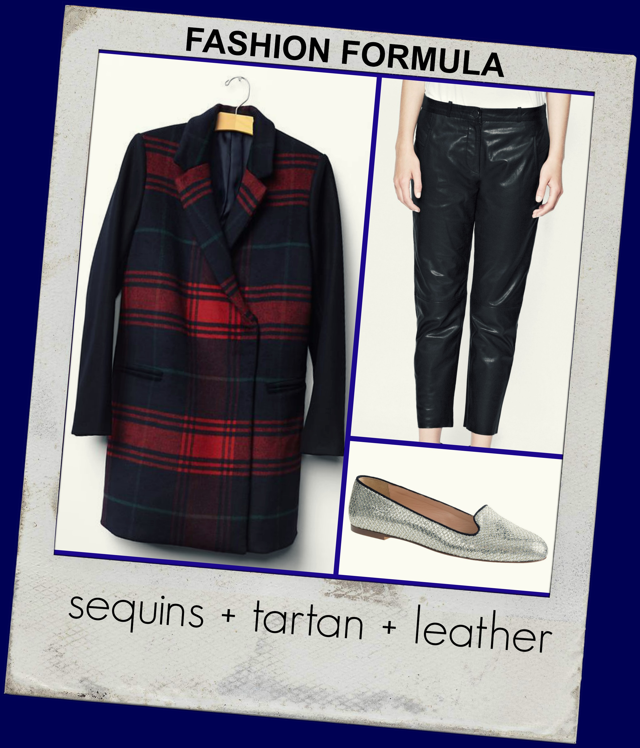 Fashion formula: sequins tartan leather