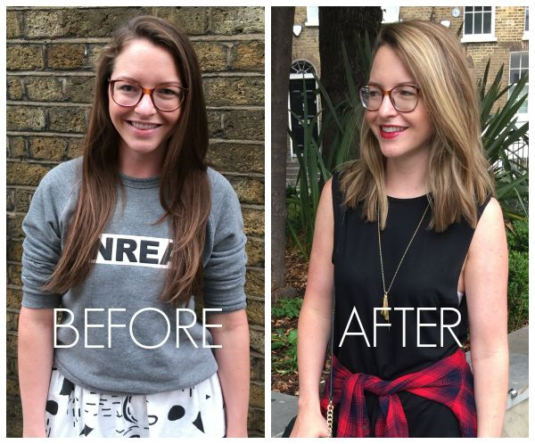 blond lob haircut - before after