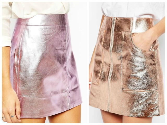 Metallic leather skirts from ASOS