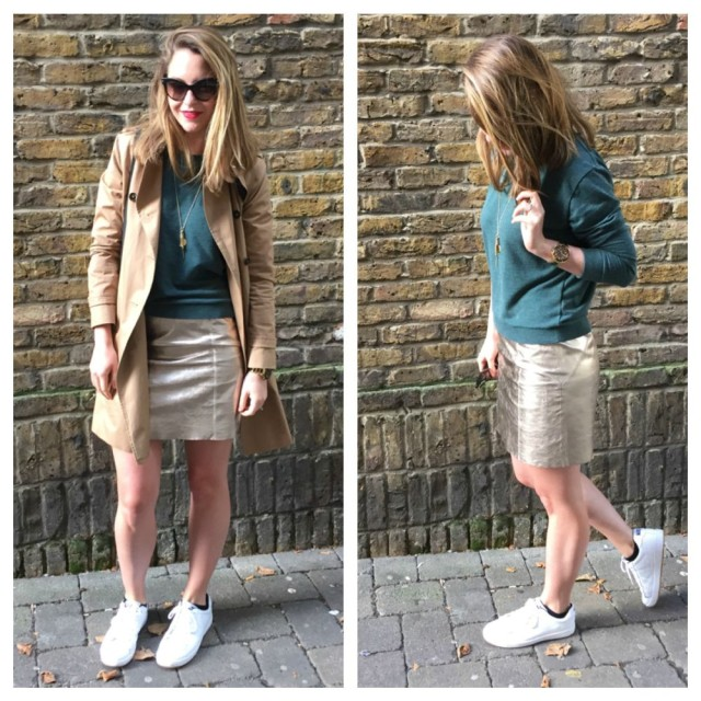metallic leather skirt with trainers
